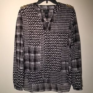 New York Clothing Co. Tunic Blouse, blk & wht